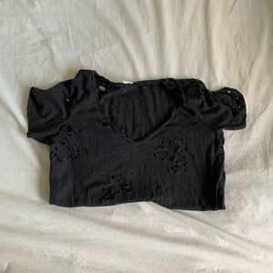 Distressed Black T-shirt with Holes